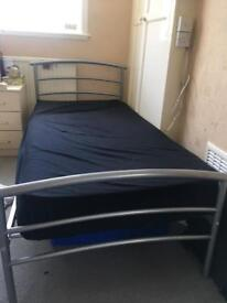 Silver single bed + mattress