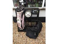 Ladies golf clubs, trolley, bag, travel bag and storage unit