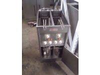 Cafe Valentine Electric Fryer Free Standing 2 Tank 2 Basket Chips Fryer Single Phase Fastfood Diner