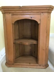Antique style pine corner shelf