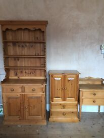Handmade wooden Welsh dresser and a kitchen dresser and smaller cabinet yes all three !