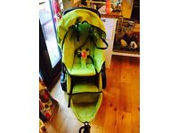 Phil and teds double pushchair green sport