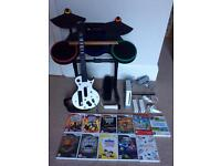 Wii + Guitar Hero bundle - console, instruments and 11 games