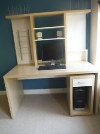 Office Desk with Movable Drawer Unit, Screen and Tower Spaces, File and Document Storage