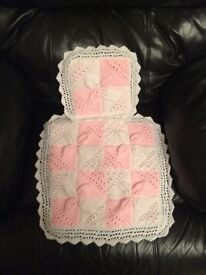 Dolls Hand Knitted Pram Cover with Pillow ***Brand New***