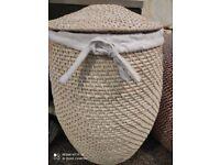 John Lewis & Partners Malia Rattan Laundry Basket, White