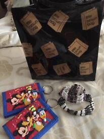 "BLOOMINGDALES ""Little Brown Bag"", 2 DISNEY Wallets & 2 Magnetic Bracelets (ALL NEW)"