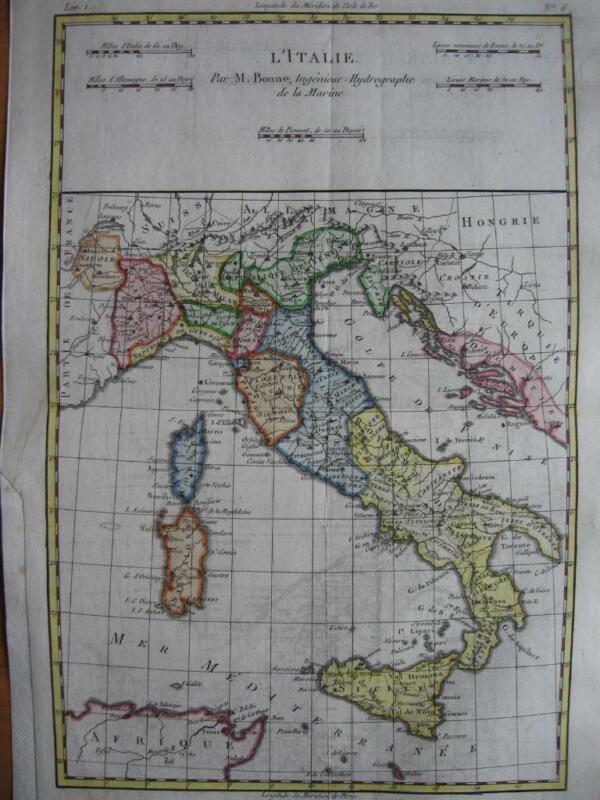 BONNE - Map ITALY  ITALIA  c1780