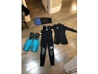 Scuba Diving Gear - Wetsuit, Diving Computer, Fins and Mask