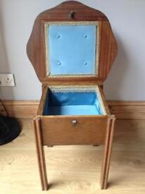 Vintage wooden sewing table with storage