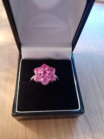 Beautiful Pink Sapphire cluster ring in sterling silver