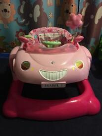 Pink mothercare car baby walker