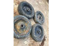 """Solid wheels x 4 of 12""""x 3"""" thick x 1"""" centre"""
