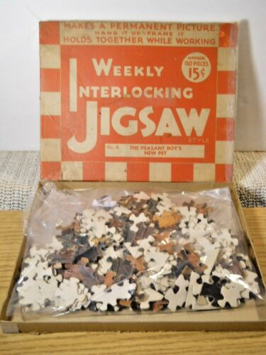 1933 Gelco Pulver's Weekly Puzzle No 4 - Peasant Boy's New Pet - Original Insert