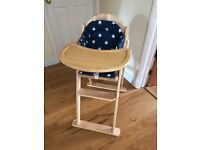 John Lewis wooden highchair with seatpad