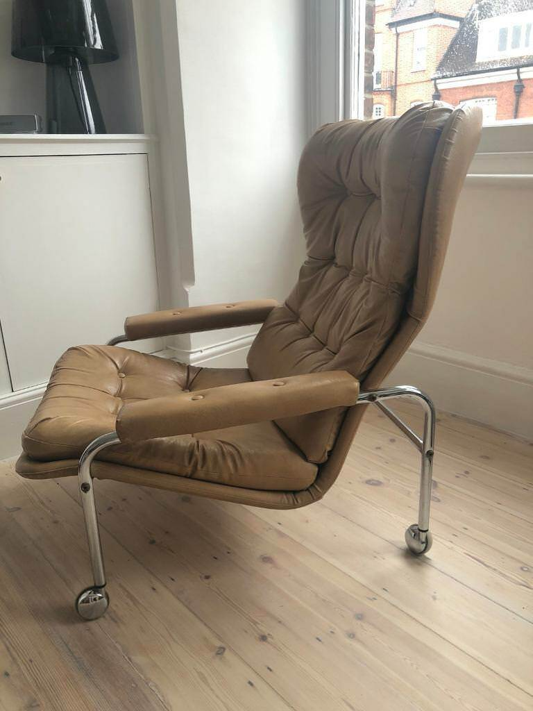 bruno mathsson style swedish made retro leather and chrome armchair
