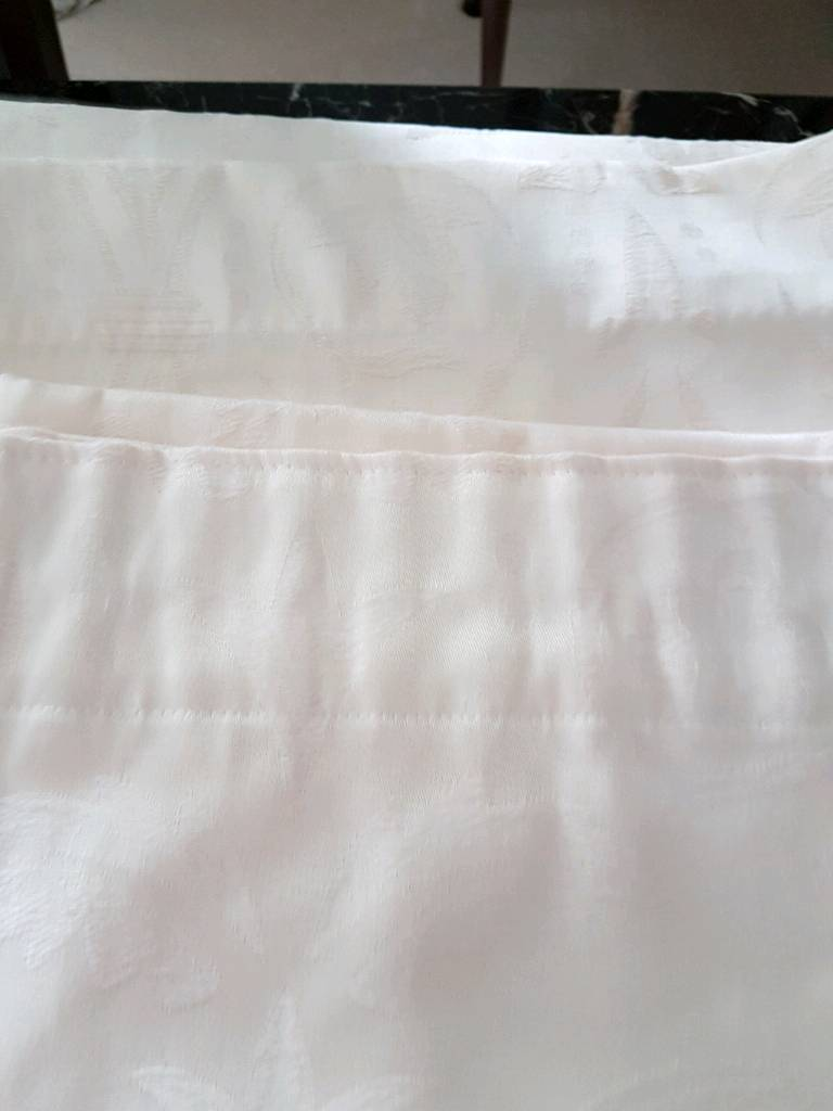 Cream damask curtains 66 x 72 inches