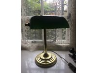 Reproduction Library Lamp - brass base with green glass shade View Cusworth