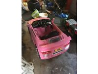 Pink Child's Sports Car,battery operated sit in car only used five times like new.