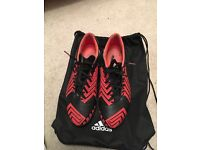 Adidas Predators Black and red size 10, AG sole plate