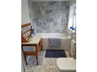 Blue patterned Wall tiles 6msq plus spare and floor tiles 4msq for sale