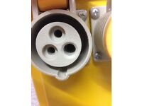 Yellow double gang socket 110v power transformer unit can also deliver.