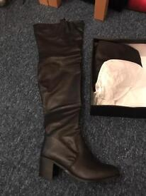 Thigh High Black Boots Size 5 Brand New