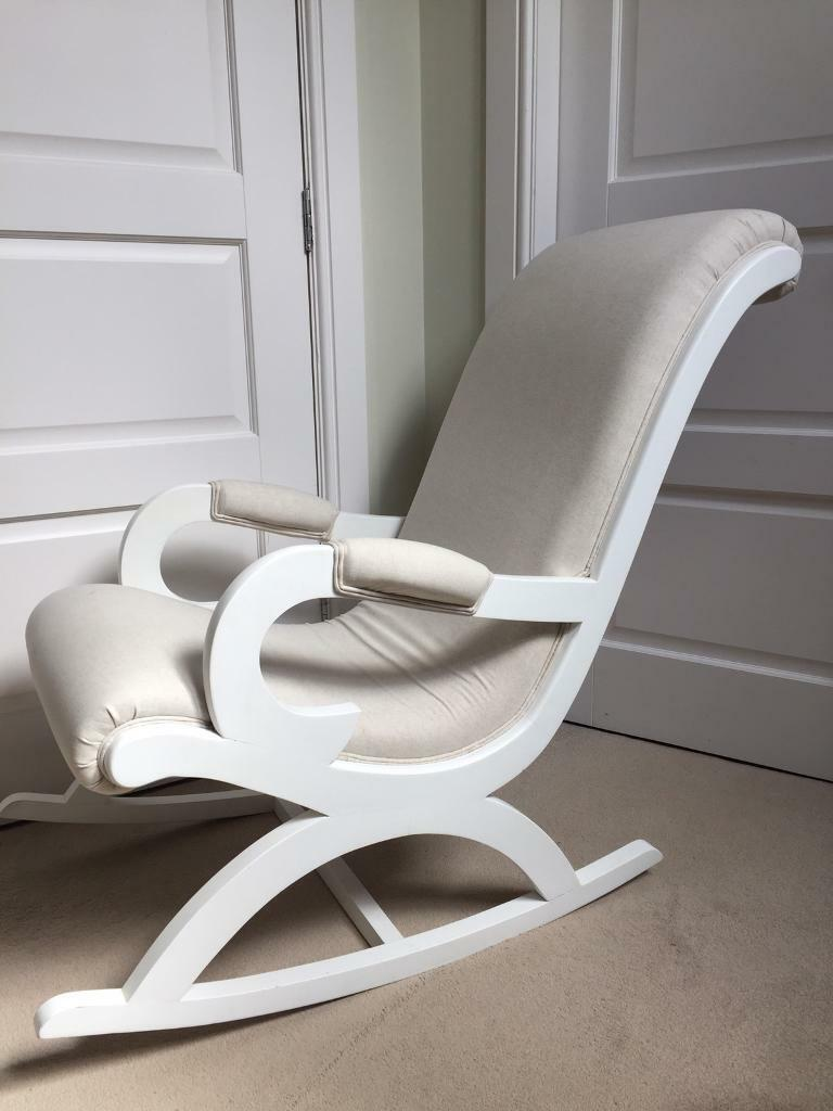 white wooden rocking chair. Linen Fabric White Wooden Rocking Chair Chic Shack London Nursing Nursery Occasional Shabby