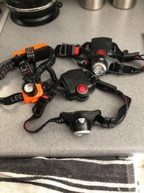 3 led lensor headsets, 2with rechargeable batteries . In good condition
