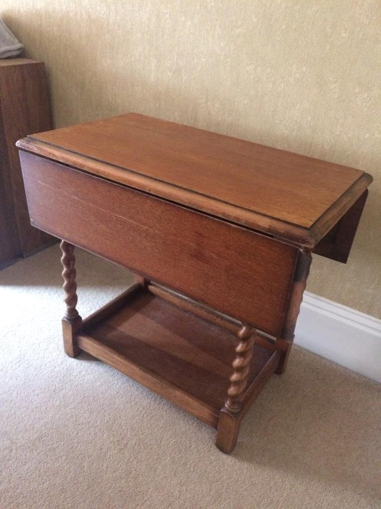 Old Barley Twist Wooden Vintage Table Drop Fold Down Extendable Sides Shabby Chic Project
