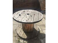 WOODEN CABLE DRUM REEL - upcycle as GARDEN TABLE 1m diameter