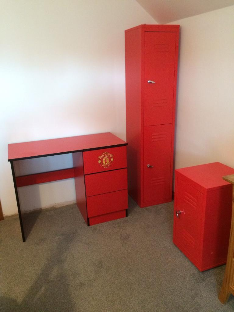 Kids Manchester United Desk And Lockers Bedroom Furniture