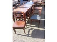 Hardwood Pub/Restaurant Style Numbered Tables (3) and 12 chairs