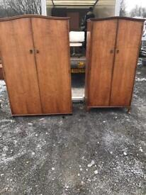 Pair of 1959s walnut Queen Anne his and her wardrobes.