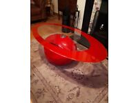 Stunning red glass coffee table like new!