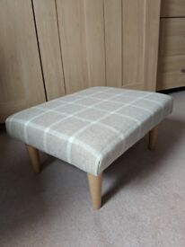 Footstool newly recovered in Sanderson Hawes natural 100% wool fabric
