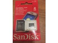 SanDisk 4GB Micro SDHC + SD Adapter (class 4) - Brand new, unopened