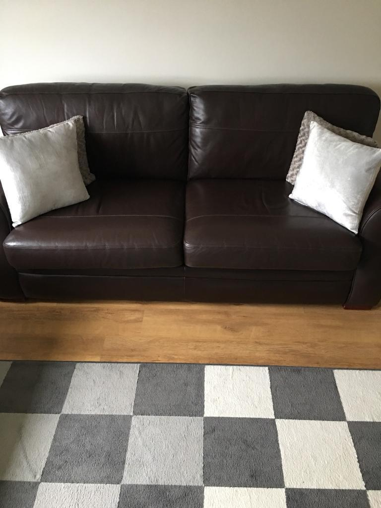 THREE SEAT AND TWO SEAT LEATHER SOFAS