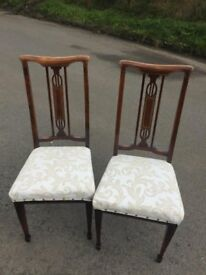 Stunning pair of ornate inlaid vintage chairs
