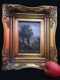 Antique Very Fine Ornate Oil Painting of Landscape Signed on Board