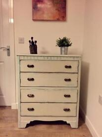 Very solid fully refurbished retro/Mediterranean style chest of drawers in duck egg and cream finish