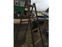 Charming Heavy Solid Tall Vintage Wooden Double Side Step Ladder – Storage Prop Display
