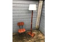 MidCentury Teak Wood, Tall Floor Lamp, Retro, Vintage