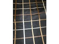 NEW BLACK GOLD BRONZE LARGE CHECK LIGHT WEIGHT CURTAIN FABRIC BY THE METER