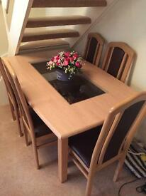 Light Wood Dining Table & 6 Wood/Leather Look Chairs!