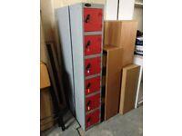 RED 6 DOOR STEEL LOCKERS WITH WORKING LOCKS AND KEYS