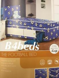 SINGLE BLUE FOOTBALL BED WITH STORAGE