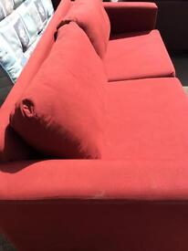 Red colour 3seat fabric sofa in good condition
