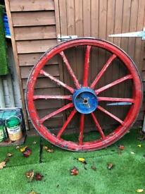 Large Cart Wheel / Vintage Steel Rim Cartwheel