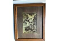 Original Victorian 'Guardian Angel' Print and Frame.